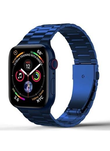 Wiwu Apple Watch 38mm Ultra Thin Steel Belt Three Beads Metal Kordon Mavi